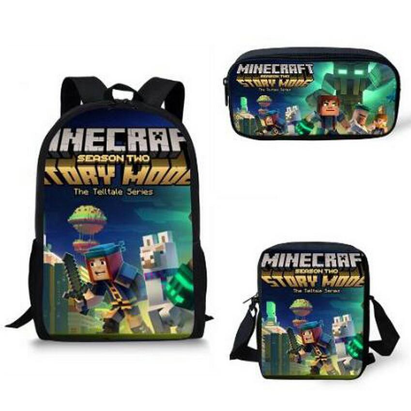 New Arrival 3Pcs Set School Backpack Shoulder Bag Pencil Bag Set Minecraft Print School Bag Kids Boy Children Book Bag