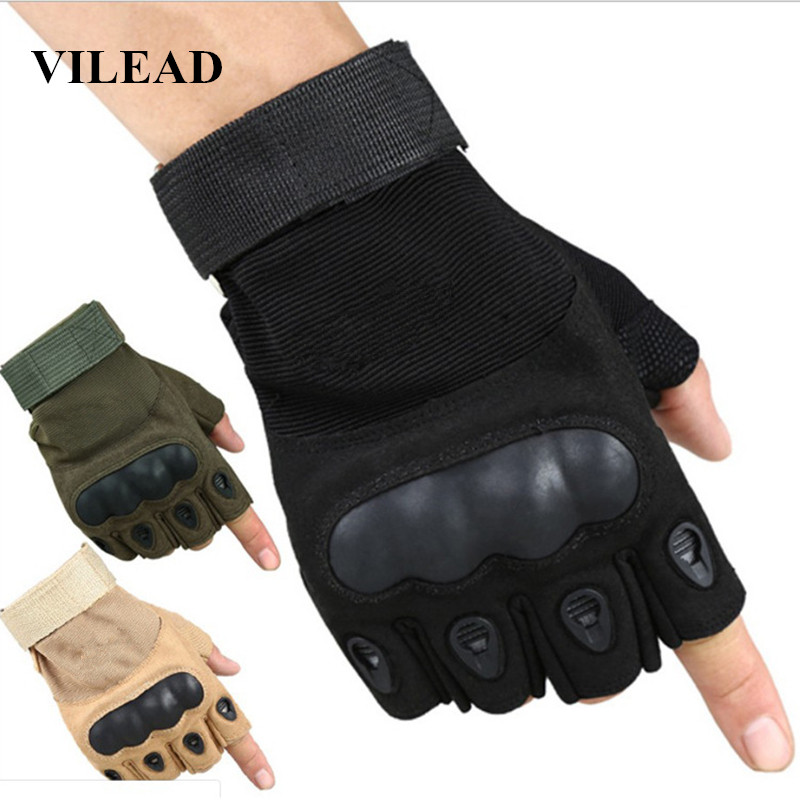 VILEAD Outdoor Tactical Fingerless Gloves Military Army Half Finger Gloves For Shooting Hiking Hunting Climbing Cycling Riding
