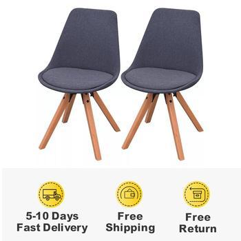 2 szt Nowoczesne krzesła do jadalni do jadalni i eleganckie krzesła biurowe w stylu Retro drewniane nogi i tapicerowane wyściełane krzesła tanie i dobre opinie vidaXL 800mm Jadalnia meble pokojowe 49 x 55 5 x 83 cm (W x D x H) Europa i ameryka Jadalnia krzesło 243564 Meble do domu