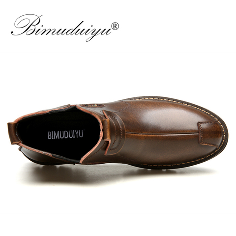 BIMUDUIYU Mens Chelsea Boots GenuineLeather Autumn Shoes Retro Ankle Boots For Men Casual Winter Quality Slip On Botas Man Lahore