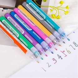 8 kolorów podwójna linia zarys pióro zakreślacz pióro do pisania rysunek na szklanym drewniany papier