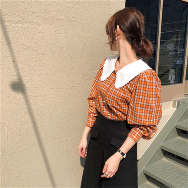 Фото новинка рубашка в стиле ретро для ранней осени клетчатая популярного