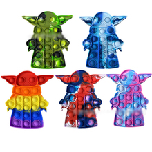 2021 Newest Baby Yoda Popit Rainbow Push Bubble Fidget Toys Mandalorian Sensory Stress Relief Toy Kawaii Poppit Kids Gift