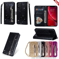 50Pcs/Lot Leather Wallet Phone Case For iPhone 11 Pro Max XR XS Max Bling Glitter Flip Cover For iPhone SE 2020 6 6s 7 8 Plus