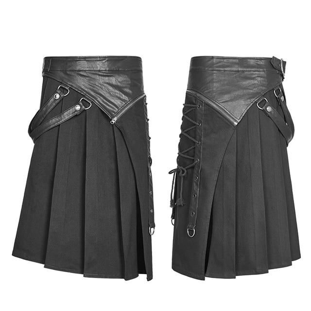 PUNK RAVE Gothic Steampunk Men Skirt Vintage Japanese Removable Cosplay Men's Half Skirt Pants 5