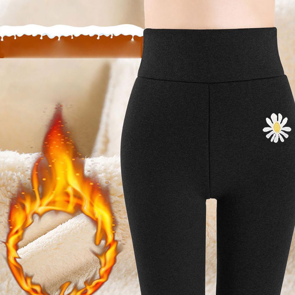 2021 S-5XL Women Daisy Print Leggings Warm Winter High Waist Thick Velvet Wool Cashmere Pants Plus Size Lady Trousers Leggings