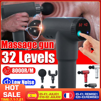 8000r/min Therapy Massage Gun 32 Gears Muscle Massager Pain Sport Massage Machine Relax Body Slimming Relief With 4 Heads 1