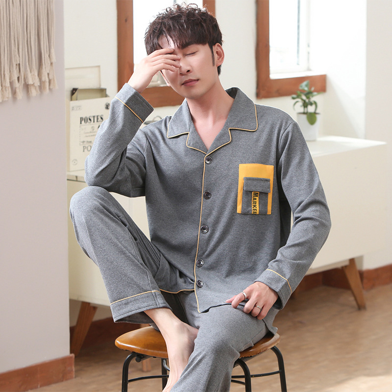 Cotton Pajamas For Men Long Sleeve Autumn Pure Cotton Teenager Cardigan Cotton Men's Pajamas Household Suit Lounge Wear For Men