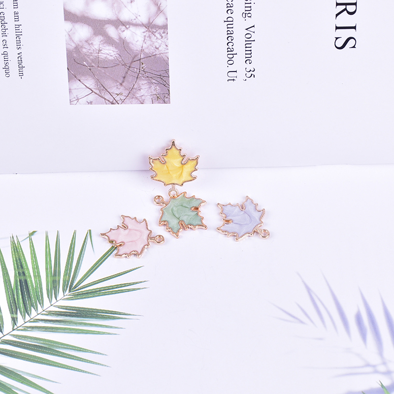 10pcs 22 18MM Drip Oil Maple Leaf Enamel Charms Alloy Leaves Dangle Pendants DIY Earring Bracelet Jewelry Accessories FX512 in Charms from Jewelry Accessories
