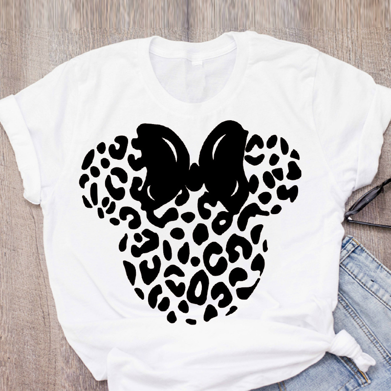 Tee Women Print T Shirt Casual Cartoon Leopard Bow Short Sleeve Summer Lady Girl Womens Clothing Top T-Shirt Tees Female Clothes