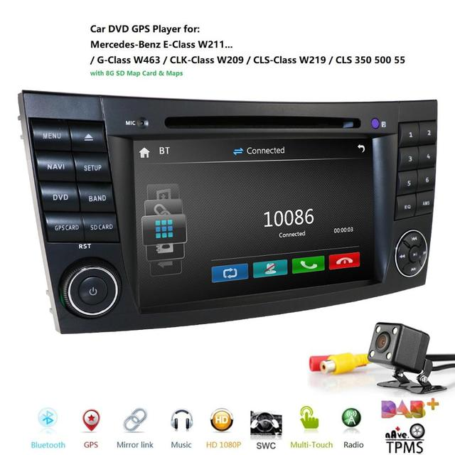 Car DVD radio Multimedia HeadUnit For Mercedes Benz E Class W211 W463 W209 W219 USB GPS Monitor SWC Free 8G Map card Rear Camera