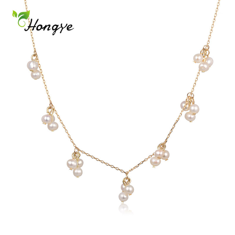 Hongye Trendy Natural Multi-Pearl Tassel Pendant Necklace For Women Party Wedding Short Chain Jewelry Accessories Hot Sale