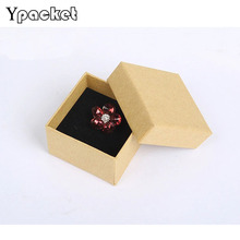 100pcs/Lot 5*5*3cm Square Jewelry Box Kraft Paper Ring Necklace Packaging Boxes Gift Box Je