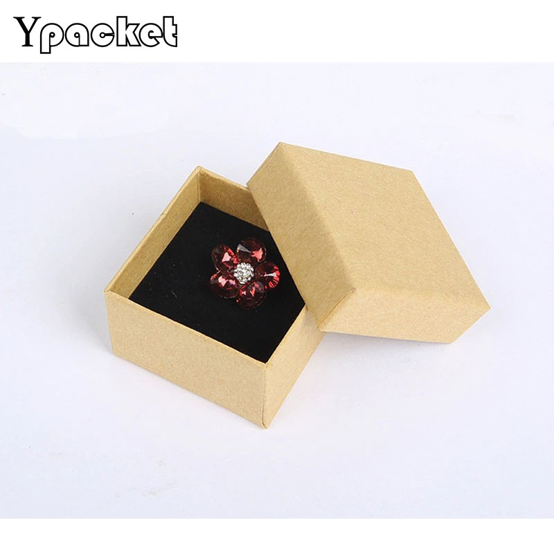 100pcs/Lot 5*5*3cm Square Jewelry Box Kraft Paper Ring Necklace Packaging Boxes Gift Box Jewellery Organizer With Sponge Inside