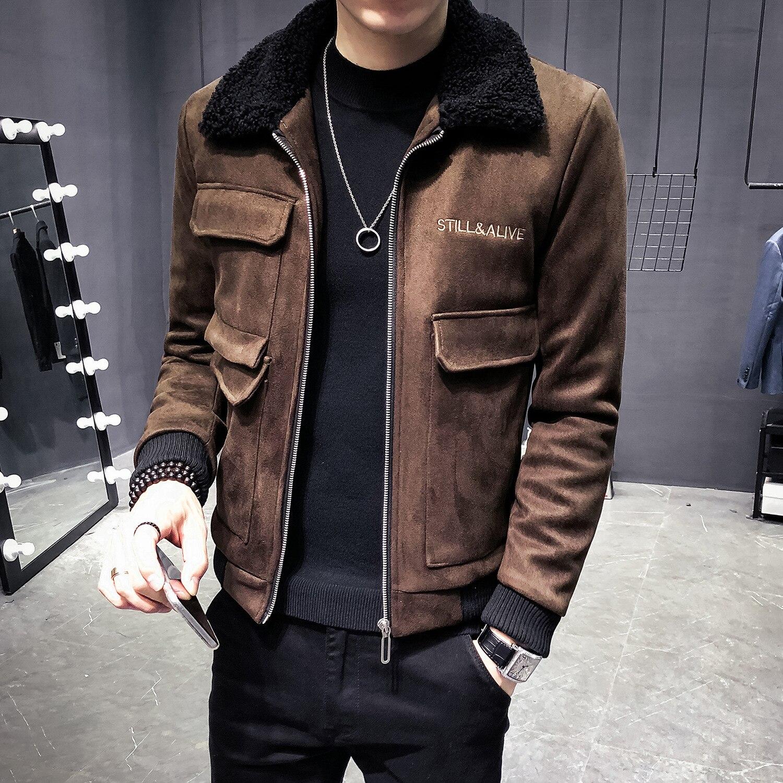 Winter Men Clothing Jacket Deerskin Cold-proof Cotton-padded Korean Slim Jacket Deri Ceket Coats Mens Fur Collar Erkek Jackets
