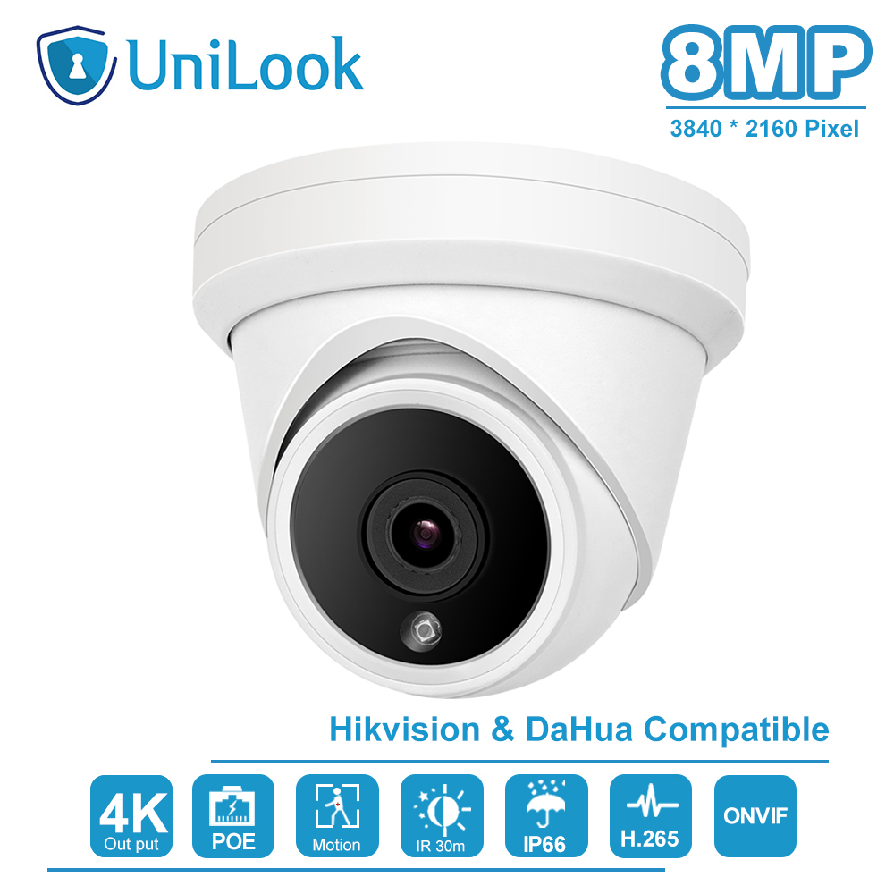 UniLook(Hikvision Compatible) 8MP 4K IR Dome POE IP Camera Outdoor Security CCTV Video Surveillacne Network Cam H.265 ONVIF