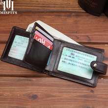 Wallet Money-Clips Genuine-Leather Purse Card-Holder Short Brand MISFITS Men with Hasp