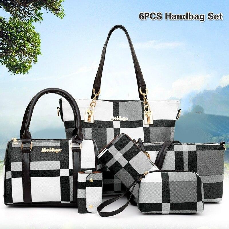 6 pièces femmes classique vérifié sacs à main et sacs à main grande capacité fourre-tout sacs embrayage portefeuilles Ziplock plastique stockage suspendus organisateur
