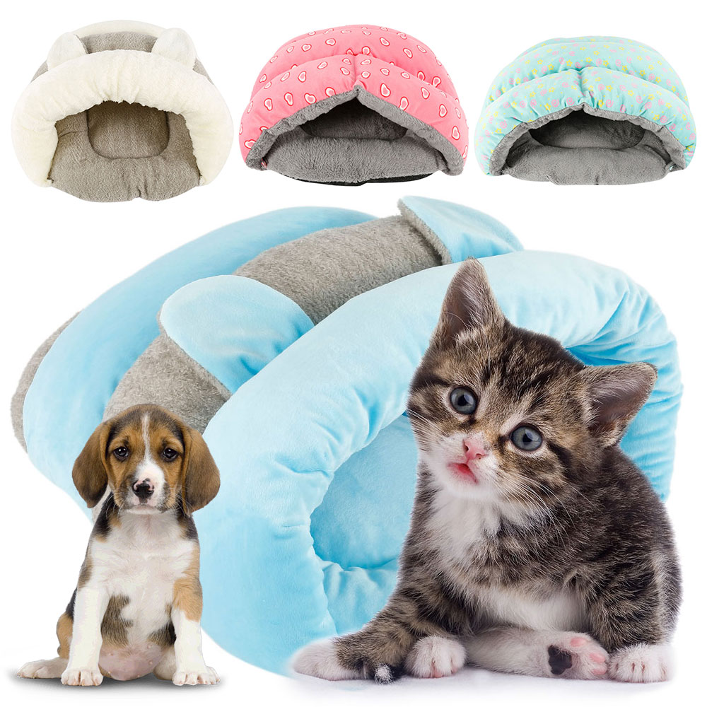 Cute Pet Cat Dog House Winter Warm Slippers Style Dog Bed Pet House Dog Kennel Washable Cat House Soft Cotton Mats Sofa for Pet image