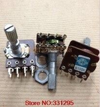 2 pces potenciômetro de volume de áudio WH-148 interruptor duplo 8 pinos com torneira central b50k b100k 25mm-axis