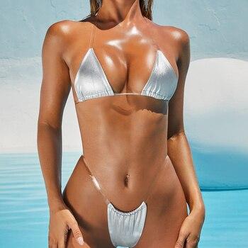 Sexy Micro Bikini 2020 Swimsuit Women Swimwear Solid Thong Mini Bikini Set Brazilian Bathing Suit Female Beach Wear New Bathers