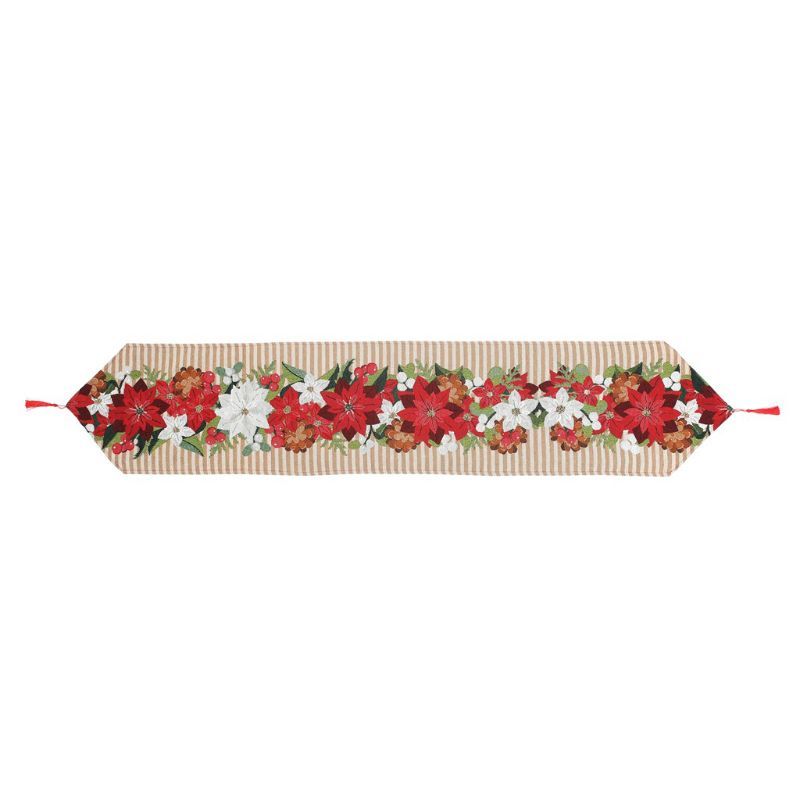 Christmas Decorative Table Runner Jacquard Weave Red Poinsettia Green Leaves Beige Christmas Flower Soft Table Cloth