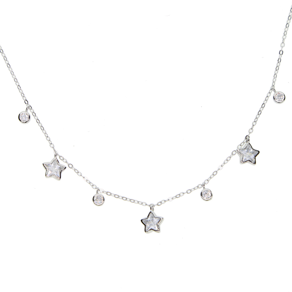 short necklace 100% real 925 stelring silver drop round cz star charm pendant necklace for women wedding gift choker layer neck