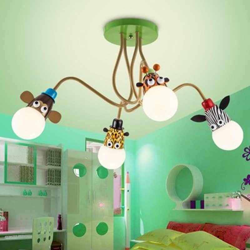 Новинка, светодиодный потолочный светильник с белой лампочкой, с мультяшным животным, обезьяной, зеброй, жирафом, для детей, спальни, комнаты, подвесной светильник