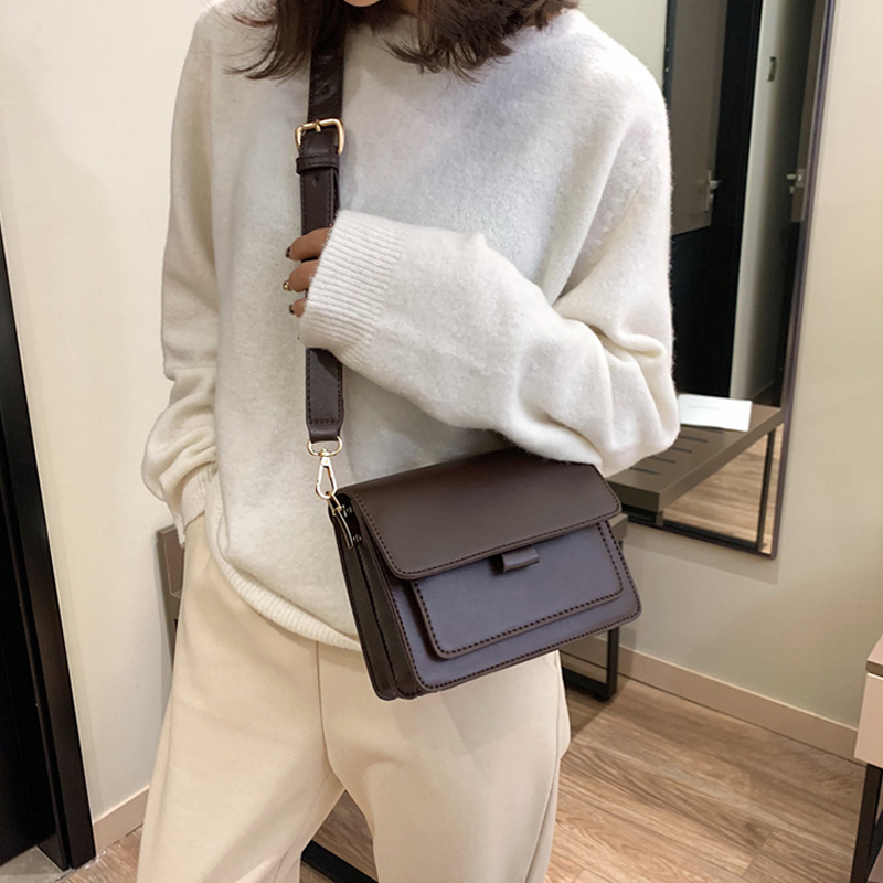 Vintage Women Crossbody Bags Designer Wide Strap Female Shoulder Messenger Bag Luxury Pu Leather Small Flap Retro Ladies Purses