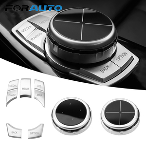 FORAUTO Car Multimedia Buttons Cover iDrive Stickers For BMW 1 2 3 5 7 Series X1 X3 F25 X5 F15 X6 16 F30 F10 F07 E90 Car Styling
