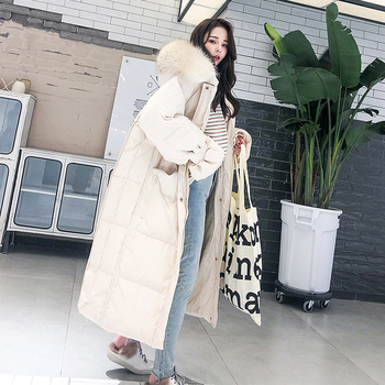 Fashion White Fur Collar Hooded Warm Coat Women X-long Jacket 2020 New Winter Loose Down Jacket Thick Coat Female Outerwear WM22 1