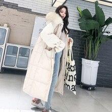 Fashion White Fur Collar Hooded Warm Coat Women X-long Jacket 2020 New Winter Lo