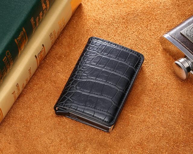 Bycobecy Antitheft Men Vintage Credit Card Holder Blocking Rfid Wallet Leather Unisex Security Wallet Leather Women Magic Wallet 5