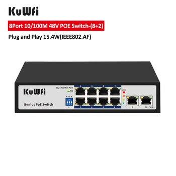 цена на KuWFi 8Port 10/100M Network Switch Ethernet Poe Switch 48V for CCTV IP Camera/Wireless AP 100M IEEE 802.3 af/at