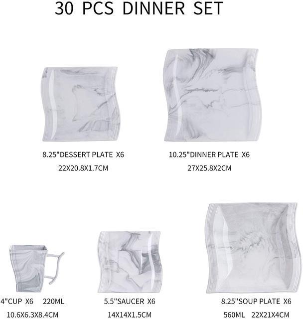 MALACASA Flora 30-Piece Marble Porcelain Dinnerware Set with 6*Dinner Plate,Dessert Plate,Soup Plate,Cups&Saucers Tableware Set 6