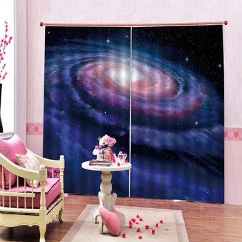 Beautiful Photo Fashion Customized 3D Curtains Space star sky galaxy Photo 3D Curtains for Living Room Window