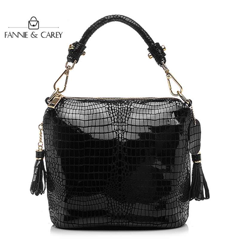 2020 Fashion Genuine Leather Bags Women Bag Fashion Handbag Quality Designer Black Crossbody Bag With Tassel Lady Tote Bags