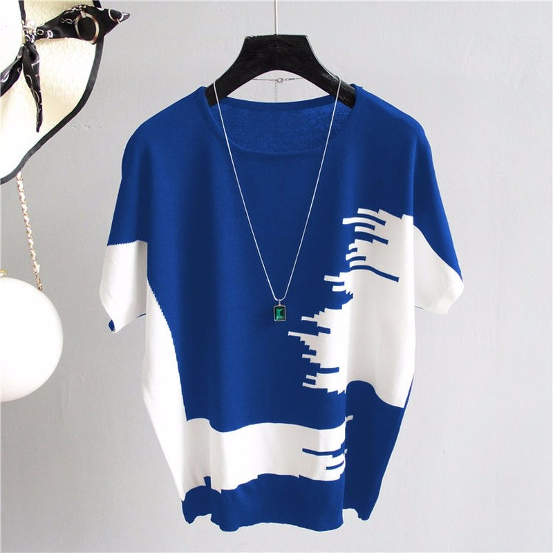 Loose And Thin Ice Silk Short-sleeved Pulover Women Irregular Contrast Color Geometric Large Size Knitted Sweater Female Spring