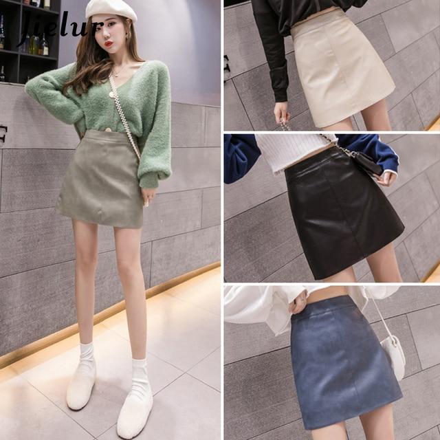 Jielur Leather Skirt Autumn Winter New Korean High Waist Mini Skirt Female 4 Colors Chic Black Sexy Saia A-line PU Skirts Women 6
