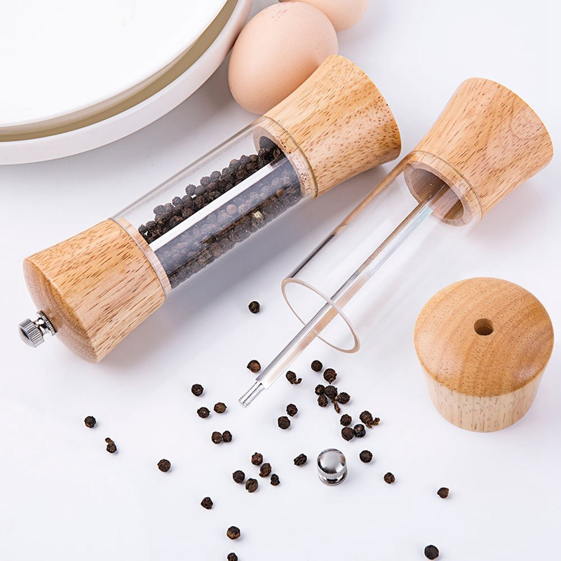 Acrylic Salt and Pepper Grinder Set  Wooden Salt and Pepper Mills  Shakers with Adjustable Ceramic Core Salt Grinder and Pepper|Mills| |  - title=