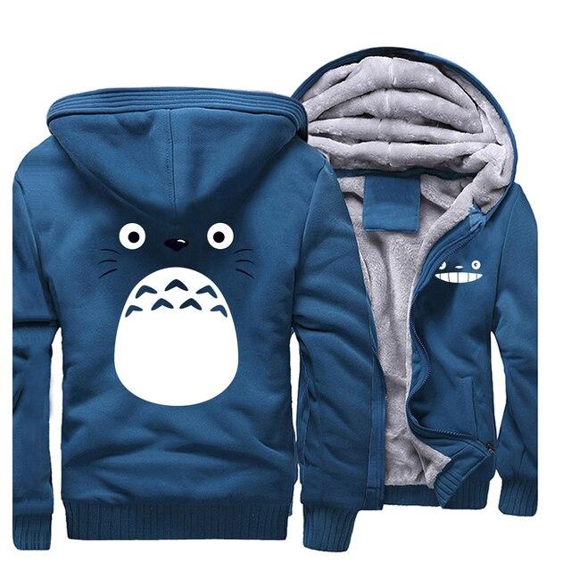 cartoon Spirited Away Totoro men Hoodies Miyazaki Hayao Thick clothes Anime Studio Ghibli Sweatshirt Warm Japanese Streetwear