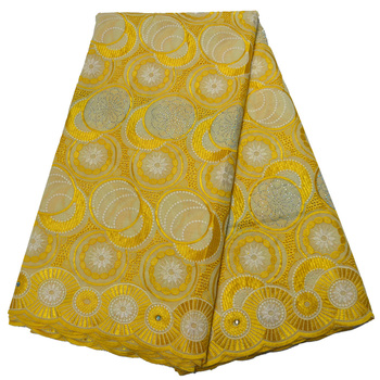 African Swiss Voile Lace In Switzerland Gold Yellow Lace Fabrics High Quality Lace New Design Embroidered Cotton Material