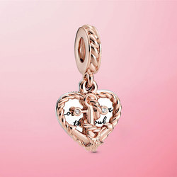 2020 Summer New 925 Sterling Silver Rope Heart & Love Anchor Dangle Charm Beads Fit Original Pandora Bracelet Necklace Jewelry