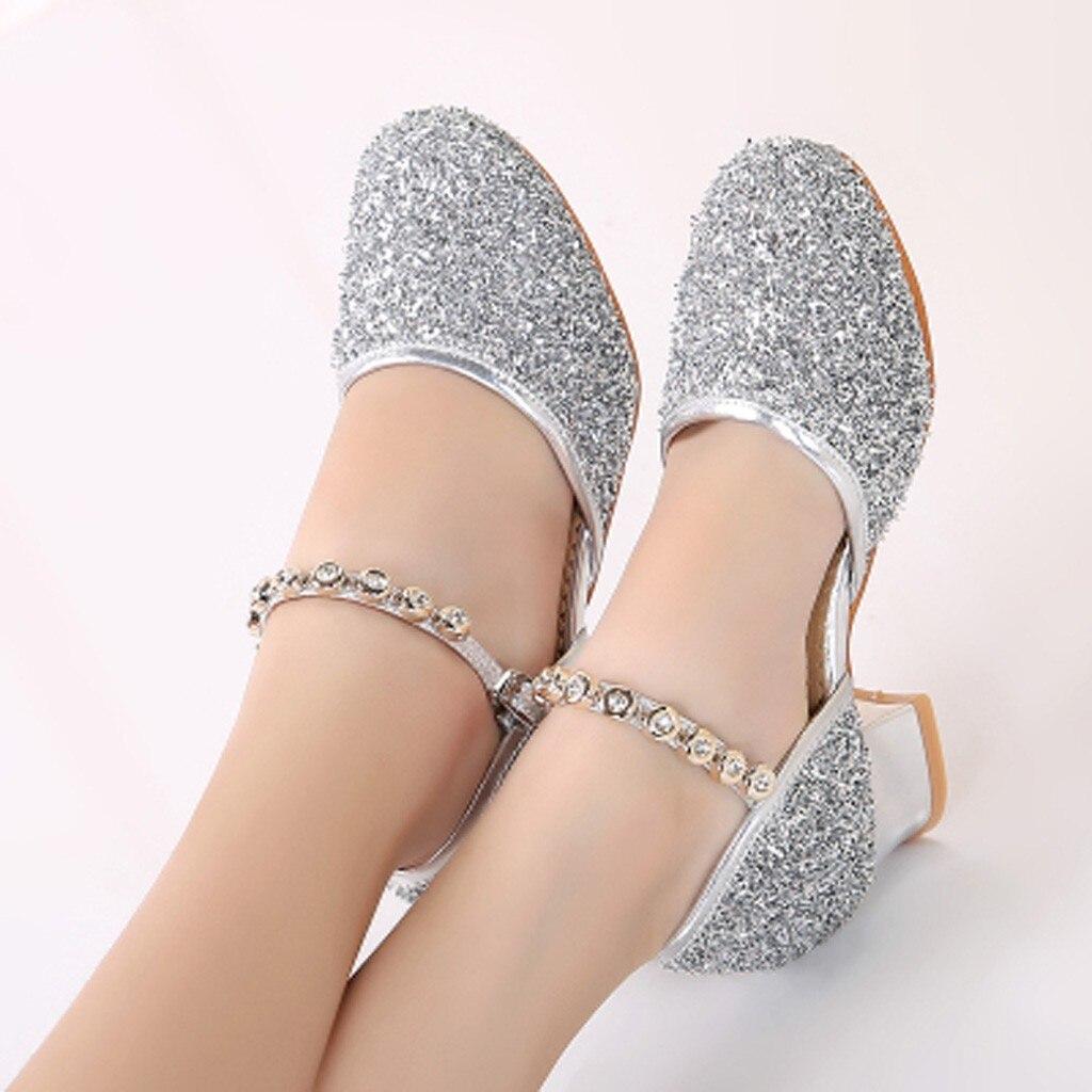 Summer Shoes For Girls Glitter Children Girl's Rhinestone Ballroom Latin Tango Dance Shoes Heeled Shoes Sandale Fille9.506gg