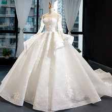 2020 New Arrivals Gorgeous Long Sleeve Beading Lace Wedding Dress Chin