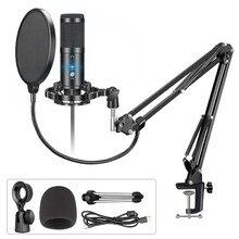 Microphone professionnel USB à condensateur, pour ordinateur de jeu, karaoké, enregistrement, studio, YouTube, Streaming