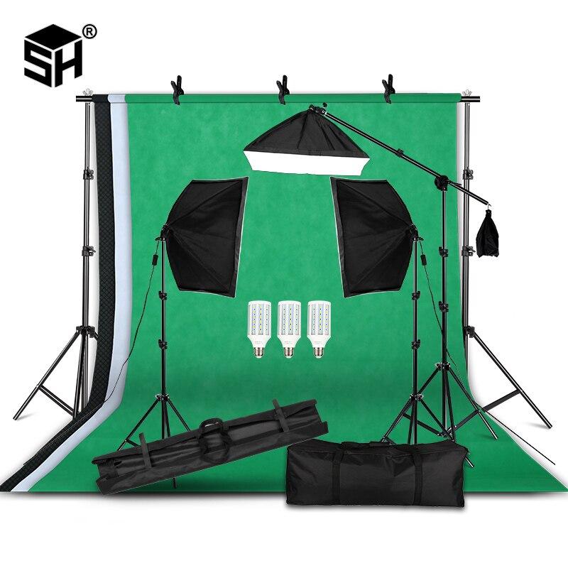 Kit d'équipement d'éclairage de photographie professionnel avec support de fond souple Softbox avec décors de bras de flèche Studio Photo léger