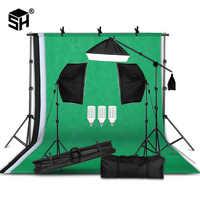 Kit de equipo de iluminación de fotografía profesional con Softbox soporte de fondo suave con brazo de pluma telones de fondo luz foto estudio