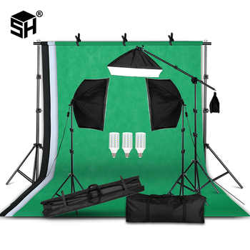 Professional Photography Lighting Equipment Kit with Softbox Soft background stand with boom arm Backdrops Light Photo Studio - DISCOUNT ITEM  50% OFF All Category