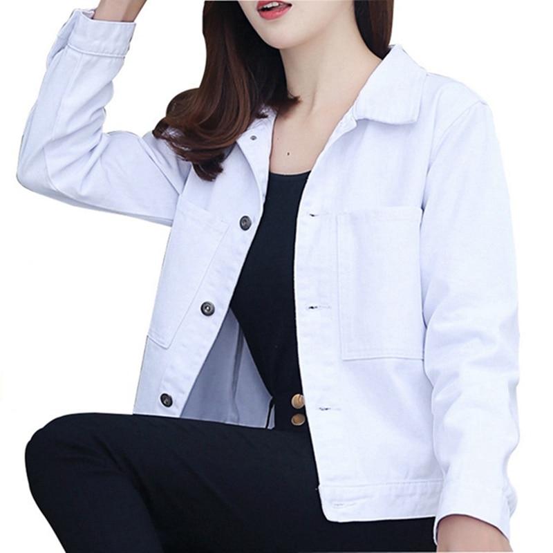 2019 Autumn Winter Women Jacket Harajuku Fashion Basic Coat Female Vintage Jean Jackets Slim White Pink Denim Coat Jacket